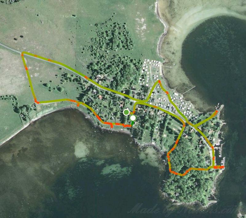 Dagens runda. 1 timme och 14 minuter, 3,24 km. De röda punkterna är när jag stannat och fotat ;)
